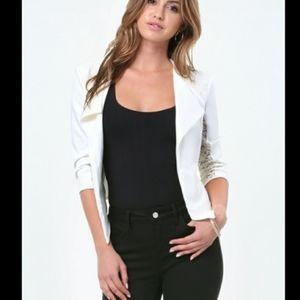 Bebe Cropped Lace Inset Half Sleeve Jacket Blazer